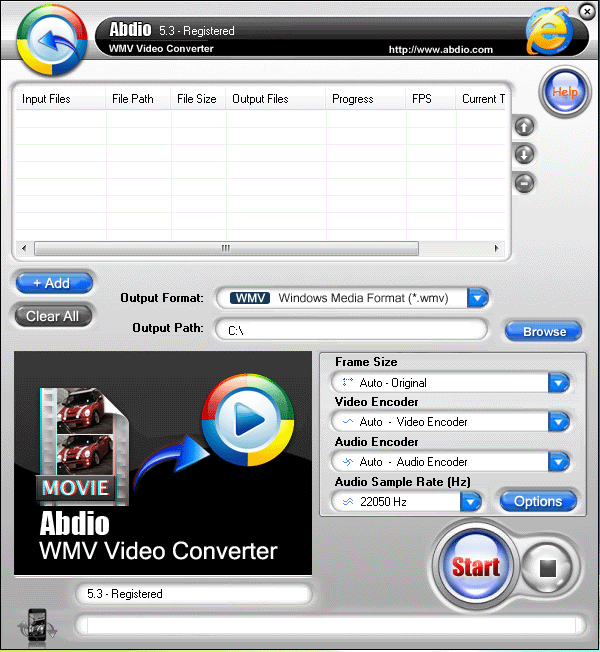 Abdio WMV Video Converter Screenshot 1