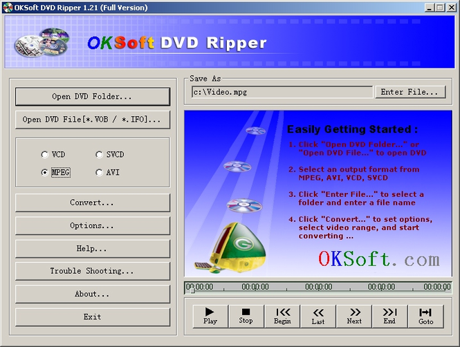 OKSoft DVD Ripper Screenshot