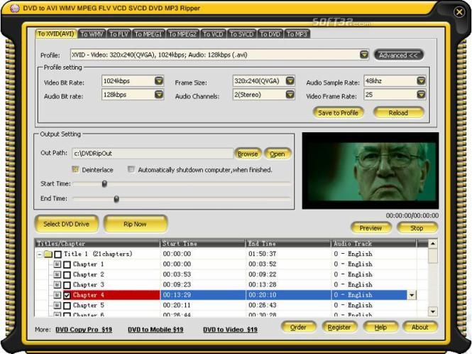 DVD to AVI WMV MPEG FLV VCD SVCD DVD MP3 Ripper Screenshot 1