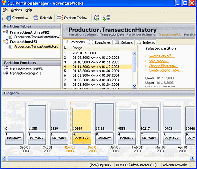 SQL Partition Manager Screenshot