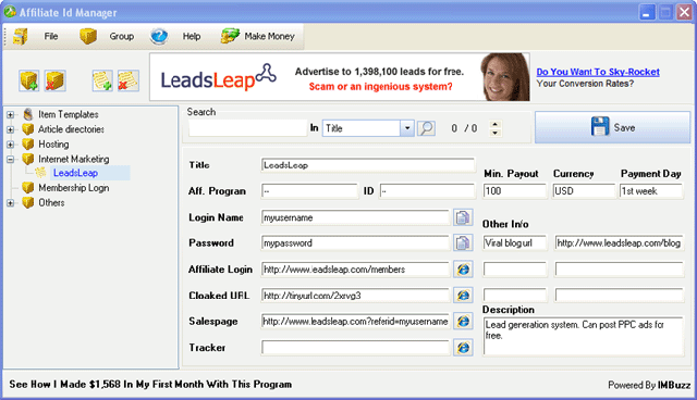 Affiliate ID Manager Screenshot