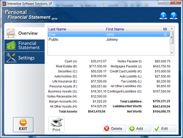Personal Financial Statement Software Screenshot