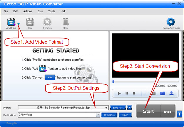 Eztoo 3GP Video Converter Screenshot 1