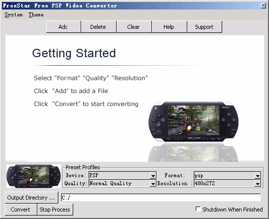 FreeStar Free PSP Video Converter Freeware Screenshot 1