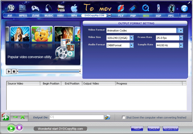 AVI MPEG FLV MOV RM WMV to MOV Converter Screenshot