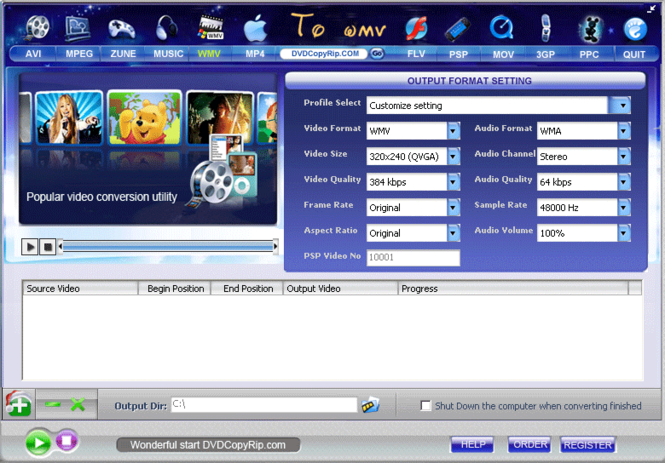 AVI MPEG FLV MOV RM WMV to WMV Converter Screenshot