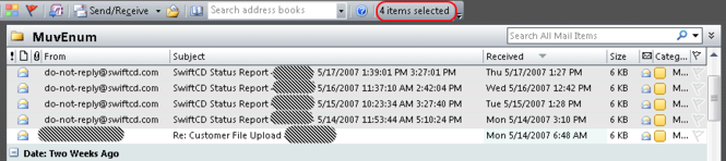 Number of Selected Items - Outlook 2007 Screenshot