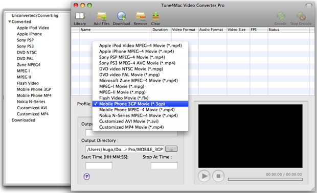 Tune4Mac Video Converter for Mac Screenshot