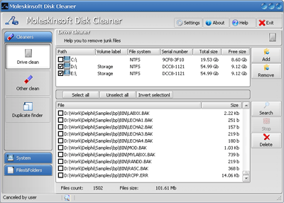 Disk Clean Up and PC Cleaner Screenshot