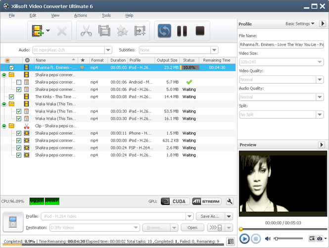 Xilisoft Video Converter Platinum Screenshot