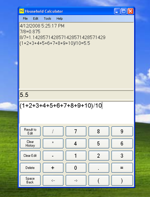Household Calculator Screenshot 2