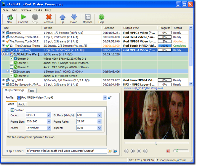 eTeSoft iPod Video Converter Screenshot