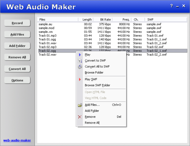 Web Audio Maker Screenshot