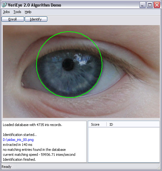 VeriEye Algorithm Demo (For Windows) Screenshot
