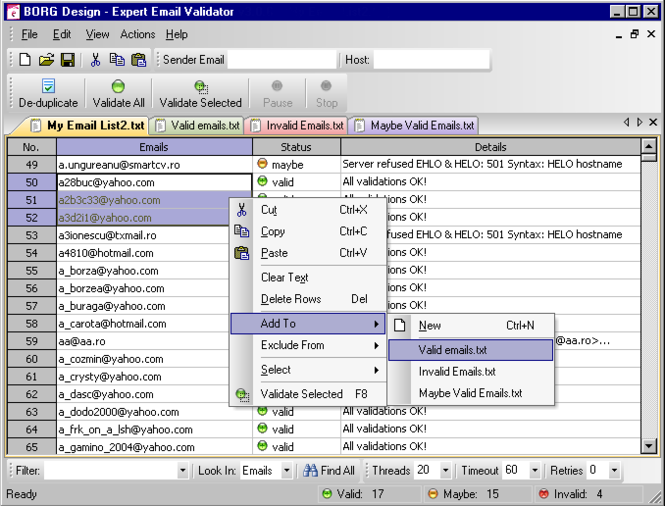 Expert Email Validator Screenshot