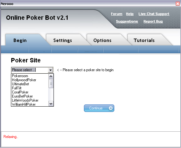 Online Poker Bot Screenshot