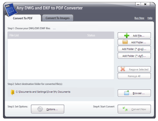 Any DWG and DXF to PDF Converter 2009 Screenshot