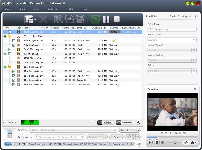 4Media Video Converter Platinum Screenshot