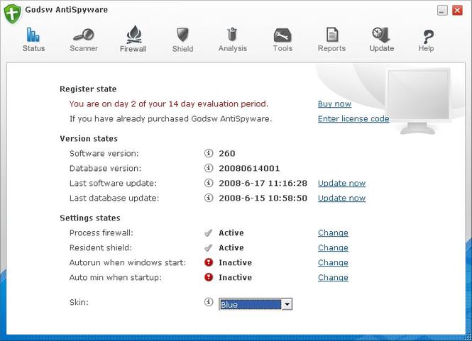 Godsw AntiSpyware Screenshot