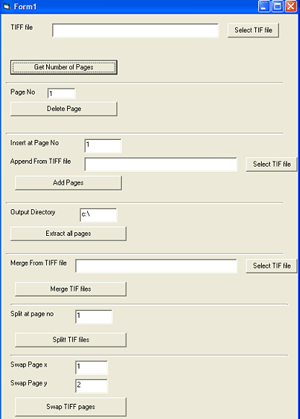 TIFF Merge Split ActiveX Component Screenshot