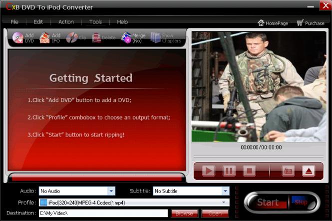 CXBSoft DVD To iPod Converter Screenshot