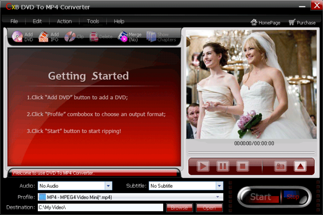 CXBSoft DVD To MP4 Converter Screenshot