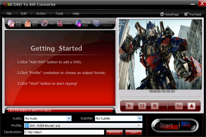 CXBSoft DVD To AVI Converter Screenshot