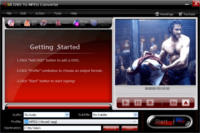 CXBSoft DVD To MPEG Converter Screenshot 1