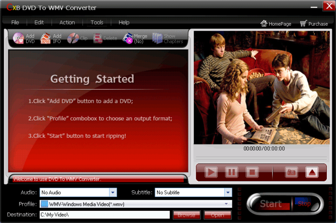 CXBSoft DVD To WMV Converter Screenshot