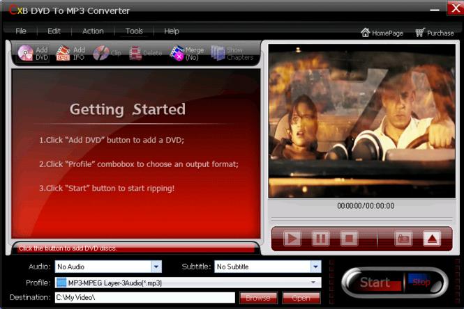 CXBSoft DVD To MP3 Converter Screenshot