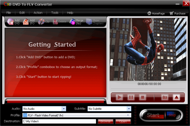 CXBSoft DVD To FLV Converter Screenshot