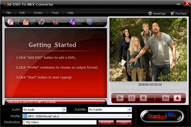 CXBSoft DVD To MKV Converter Screenshot