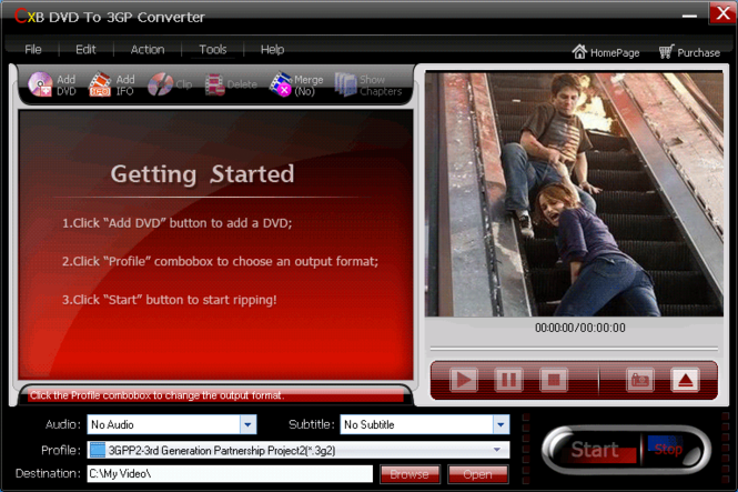 CXBSoft DVD To 3GP Converter Screenshot