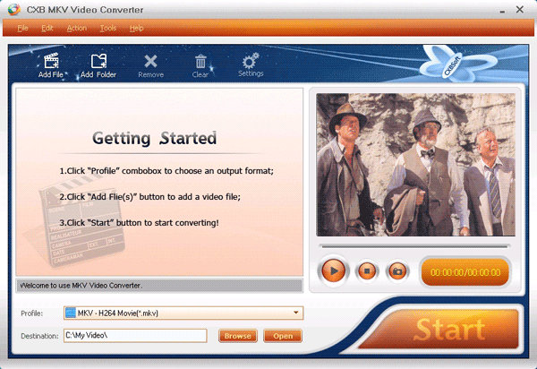CXBSoft MKV Video Converter Screenshot