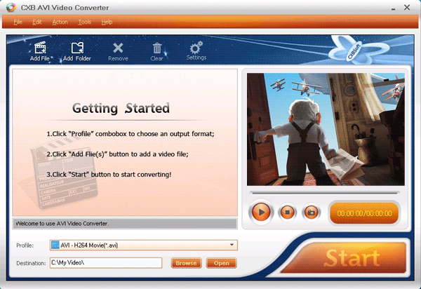 CXBSoft AVI Video Converter Screenshot
