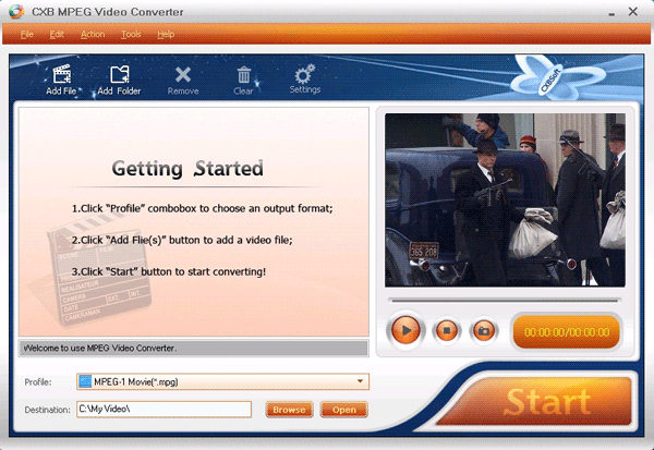 CXBSoft MPEG Video Converter Screenshot