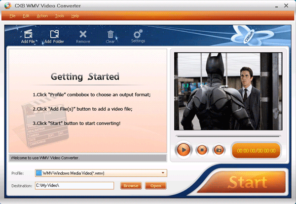CXBSoft WMV Video Converter Screenshot