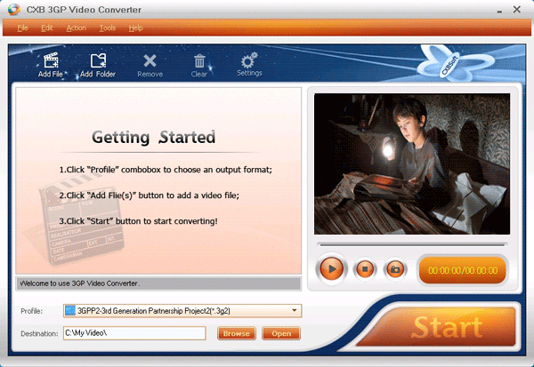 CXBSoft 3GP Video Converter Screenshot
