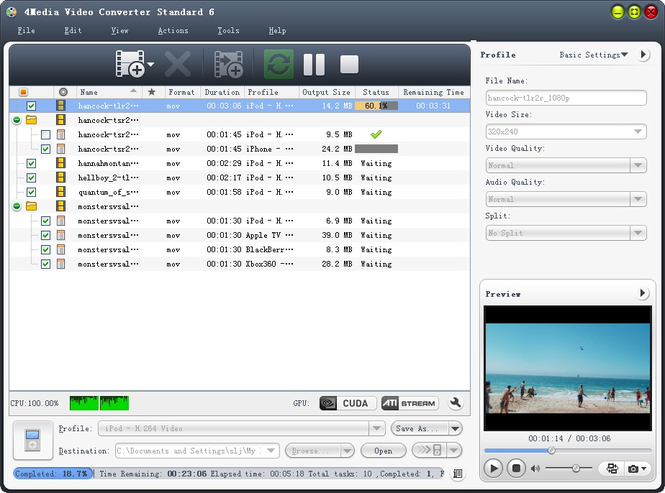 4Media Video Converter Standard Screenshot