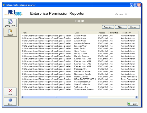 Enterprise Permission Reporter Screenshot