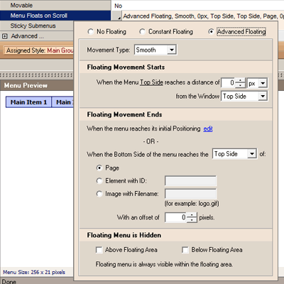 AllWebMenus Floating Menus Add-in Screenshot 1