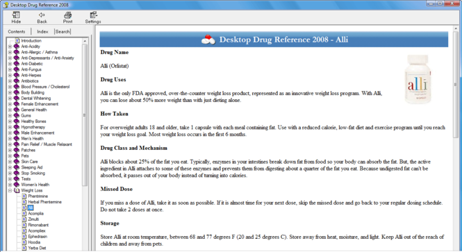 Desktop Drug Reference Screenshot