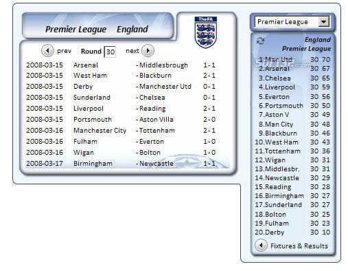 UEFA Informer Gadget Screenshot