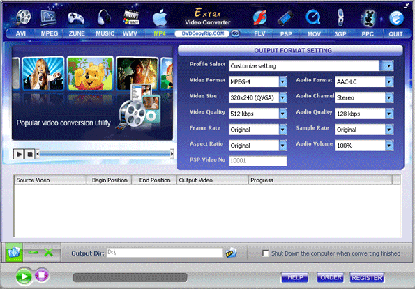 Extra Video Converter Free Screenshot