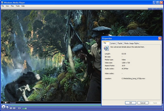 QuickTime DirectShow Filter for WMP Screenshot 1