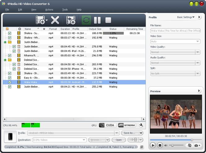 4Media HD Video Converter Screenshot 1