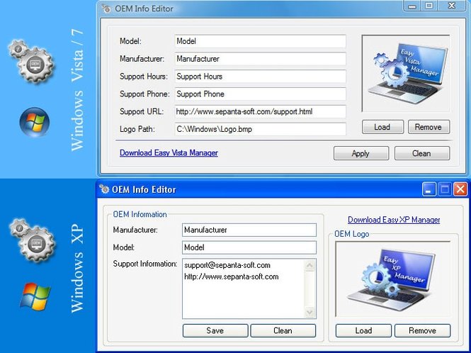 OEM Info Editor Screenshot