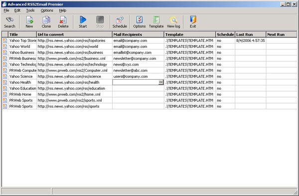 Advanced RSS2Email Enterprise Screenshot 1