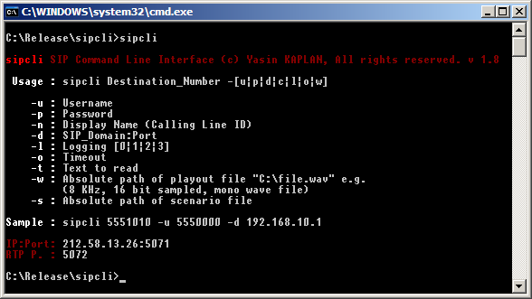 sipcli Screenshot