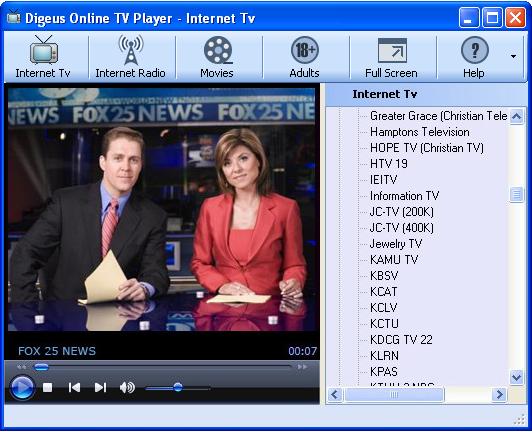 Digeus Online TV Player Screenshot 1